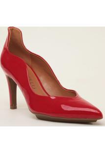 Scarpin Com Ondas- Vermelho- Salto: 7,5Cmcecconello