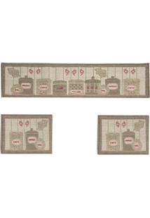 Tapete Cozinha Sisal Look 1 - 41X120 Cm E 2 - 41X60 Cm Castor Sl-Prateleira | Rayza