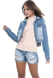 Jaqueta Jeans Lemier Jeans Collection Cropped Azul