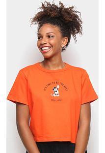 Camiseta Colcci Cropped Disney Mickey Feminina - Feminino-Laranja