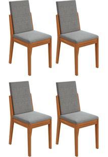 Conjunto Com 4 Cadeiras Lira Rovere E Cinza