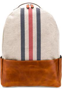 Eleventy Stripe Front Backpack - Neutro