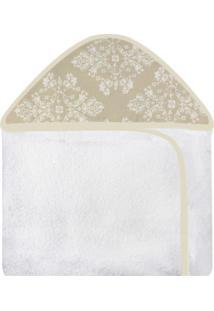 Toalha De Banho C/ Capuz Estampado Laura Baby Provençal Dourado