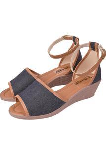 Sandália Romântica Calçados Anabela Jeans