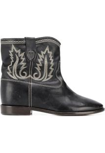 Isabel Marant Crisi Contrast-Stitching Ankle Boots - Preto