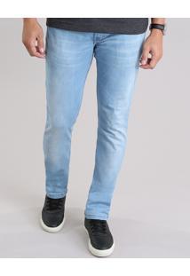 Calça Jeans Slim Em Algodão + Sustentável Azul Claro