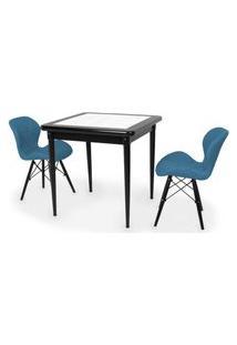 Conjunto Mesa De Jantar Em Madeira Preto Prime Com Azulejo + 2 Cadeiras Slim - Turquesa