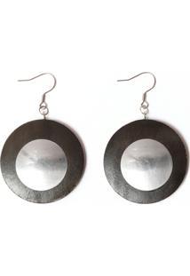 Brinco De Alumínio E Madeira - Feminino-Preto+Prata