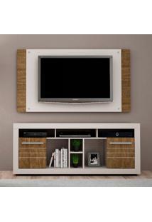 Rack Com Painel Para Tv 50 Polegadas Firenze Off White E Ipê 163 Cm