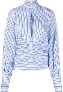 Victoria Victoria Beckham Blusa Com Listras E Fenda Frontal - Azul