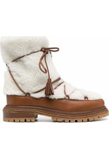 Aquazzura Ankle Boot Very Aspen Com Pelos - Marrom
