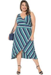 Vestido Plus Size Transpassado Listrado Feminino - Feminino