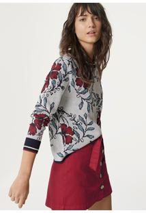 Blusão Feminino Em Tricô Estampado Floral