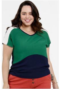 Blusa Feminina Bicolor Plus Size Manga Curta