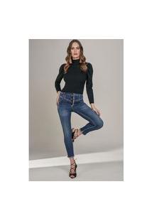 Calça Jeans Lado Avesso Cropped Jegging Azul Tam. 40