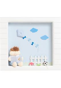 Nicho 1 Led Menino Livrinho Quarto Bebê Infantil Menino Potinho De Mel Azul