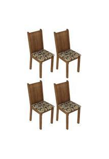Kit 4 Cadeiras 4290 Madesa Rustic/Bege Marrom Marrom