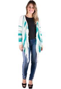 26a16d694404 ... Kimono Banna Hanna Com Franjas Em Trico - Feminino-Verde+Branco