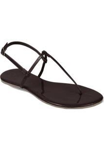Rasteira Mercedita Shoes Verniz Lisa Feminina - Feminino-Marrom
