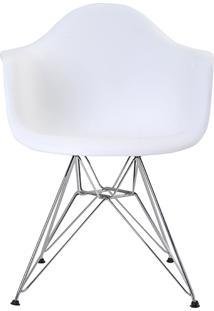 Cadeira Eiffel Com Braço Branca Base Cromada Rivatti Móveis