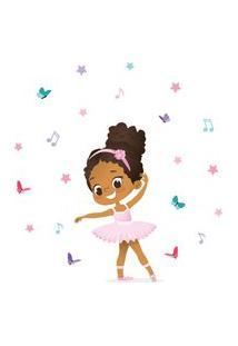 Adesivo De Parede Bailarina Negra Para Quarto De Menina