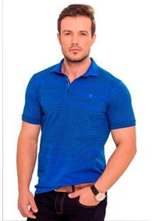 Camisa Polo Azul Escuro Quadriculada - Masculino