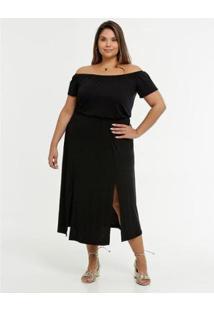 Vestido Feminino Ombro A Ombro Fenda Plus Size - Feminino-Preto