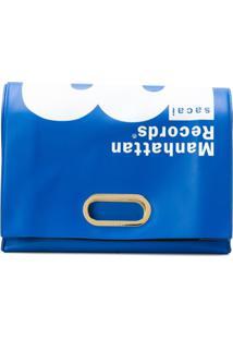 Sacai Bolsa Clutch 'Manhattan Records' De Couro - Azul