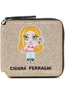 Chiara Ferragni Carteira Com Detalhe De Patch Bordado - Dourado
