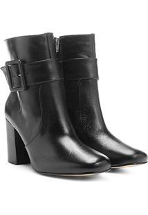 Bota Shoestock Bico Quadrado Fivela Lateral - Feminino-Preto