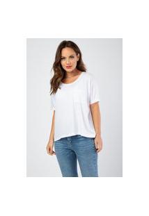 Blusa Cropped Bolsinho Branco