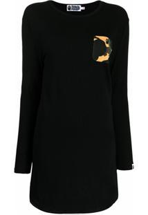 A Bathing Ape® Vestido Camuflado Com Bolso - Preto