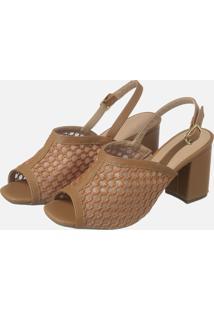 Sandalia Salto Quadrado Caramelo Bordado Ref: 8309124.007.006