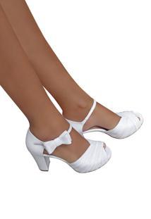 Sandalia De Noiva Branca Meia Pata Salto Alto Branco - Branco - Feminino - Dafiti