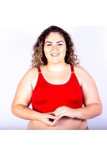 Sutiã Top Plus Size Gatria Reforçado Satin Feminino - Feminino-Vermelho