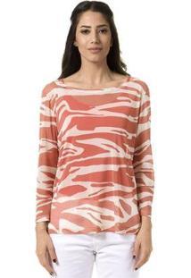 Blusa Bloom Tule Zebra Feminina - Feminino-Laranja Escuro