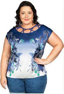 Blusa Com Estampa Floral Azul Cativa Mais