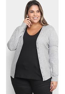 Cardigan City Lady Tricot Plus Size Feminino - Feminino-Cinza