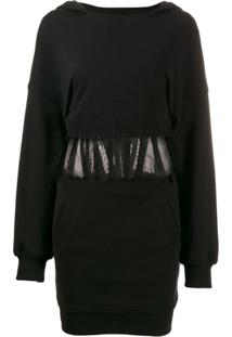 Rta Long-Sleeve Fitted Dress - Preto