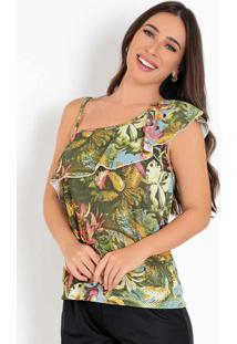 Blusa Floral Verde Assimétrica Com Alça E Babado