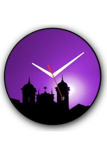 Relógio De Parede Colours Creative Photo Decor Decorativo, Criativo E Diferente - Silhueta De Ouro Preto, Mg