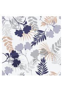 Papel De Parede Floral Delicado Bege E Azul 57X270Cm