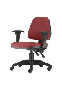 Cadeira Sky Com Bracos Assento Courino Vermelho Base Nylon Arcada - 54798 Vermelho