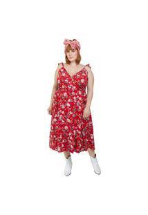 Vestido Almaria Plus Size Vintage And Cats Midi Estampado Vermelho