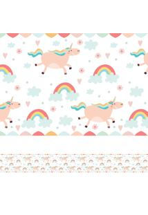 Adesivo De Parede Faixa Decorativa Infantil Unicórnio 10M X 10Cm