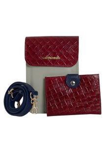 Bolsa Laura Prado Carteira Couro Marfim/Vermelho/Marinho
