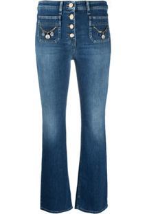 Elisabetta Franchi Calça Jeans Cropped Cintura Média - Azul
