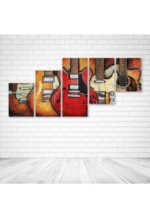 Quadro Decorativo - Guitars Art - Composto De 5 Quadros - Multicolorido - Dafiti