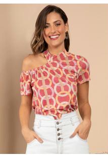 Blusa Geométrico Rosa Com Ombro Vazado