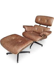 Poltrona Charles Eames Com Puff Madeira Moldada Imbuia Design By Charles Eames